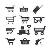 Collection of different trolleys and carts isolated on white — Stock Vector