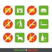 Urban prohibition signs collection isolated on white — Stock Vector