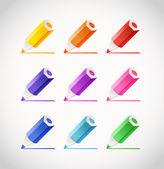 Collection of crayons with color traces — Stock Vector
