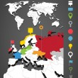 World map infographic template with icons set — Stock Vector #25513197