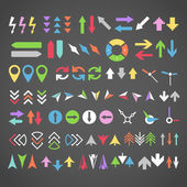 Arrow sign icons color collection — Stock Vector