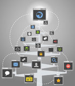 Abstract web community tree scheme — Stock Vector