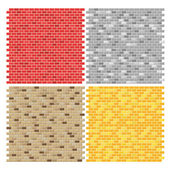 Color brick wall textures collection — Stock Vector