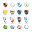 Colorful shields collection isolated on white — Stock Vector