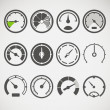 Different slyles of speedometers vector collection — Stock Vector #26990763