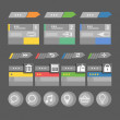 Interface bars template with icons — Imagens vectoriais em stock