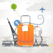 Vacaciones viajar composición con bolsa naranja — Vector de stock