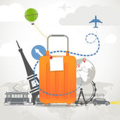 Vacation travelling composition with orange bag — Stockvector