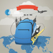 Stock Vector: Touristic backpack with presents