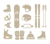 Winter sports equipment silhouettes collection — Stock Vector