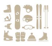 Zimní sportovní vybavení siluety kolekce — Stock vektor