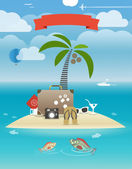 Summer seaside vacation illustration — Stock Vector