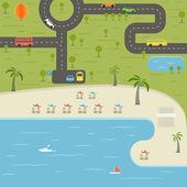 Summer season beach vacation illustration — Stock Vector
