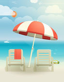 Beach landcape with chairs and umbrella — Stock Vector