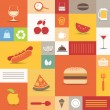 Stock Vector: Color tiles with food icons collection