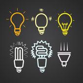 光線シルエット コレクションと色光ランプ — ストックベクタ