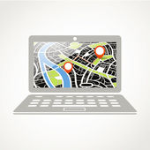 Modern laptop with abstract city map illustration — Stock Vector