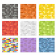 Color seamless patterns of brick walls — Stock Vector