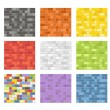 Stock Vector: Color seamless patterns of brick walls