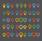 Color navigation pins collection — Stock Vector