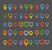 Renkli gezinti pimleri koleksiyonu — Stok Vektör