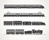 Modern and vintage train silhouette collection — Stock Vector