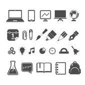 Education silhouettes collection isolated on white — Stock Vector