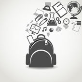 Education icons flowing into open school bag — Stock Vector