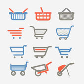 Shopping carts and trolleys — Stock Vector