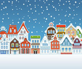 Vintage buildings with snowfall on Winter — Stock Vector