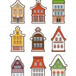Collection of colorful vintage houses isolated on white — Stock Vector
