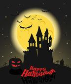 Dark castle im vollmond. happy halloween-abbildung — Stockvektor