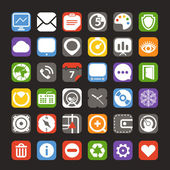 Web color interface icons collection — Stock Vector