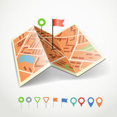 Folded abstract city map with collection of color point pins — Stock Vector
