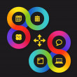 Color circle web interface template with icons — Stock vektor