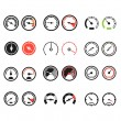 Different slyles of speedometers color vector collection — Stockvektor