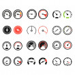 Different slyles of speedometers color vector collection — Stock vektor