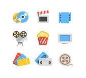 Cinema web flat design icons collection — Stock Vector