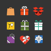 Gift boxes icons collection isolated on white — Stock Vector