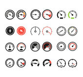 Different slyles of speedometers color vector collection — Stock Vector
