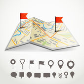 Folded abstract city map with the route and collection of differ — Stock Vector
