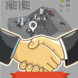 Illustration of two businessmen shaking hands. success — Imagen vectorial