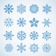 Different blue snowflakes set — Stock Vector