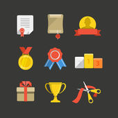 Competition prizes color flat icon set — Stock Vector