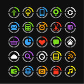 Color web icons on circles collection — Stock Vector