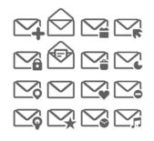 Collection of different mailing web icons isolated on white — Stock Vector