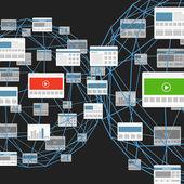Modern digital media website connection abstract scheme — Wektor stockowy