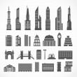 Modern city elements silhouettes collection — Stock Vector