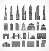 Collection de silhouettes elements ville moderne — Vecteur