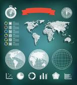 Modèle d'élément infographique. carte du monde et des différentes cartes — Vecteur